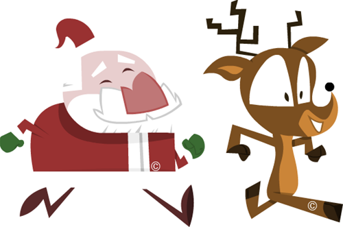 santa running with reindeer