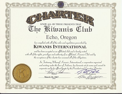 Original Charter for teh Kiwanis of Echo, Oregon