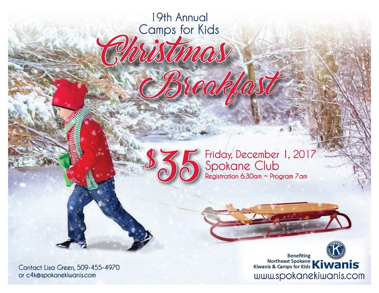 Camps for Kids Christmas Breakfast December 1st