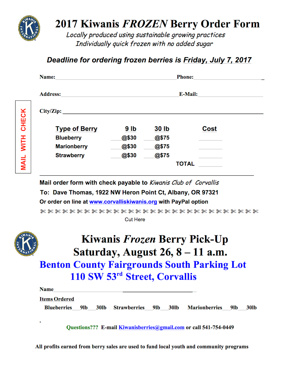 Berry Sale Order Form To Mail In