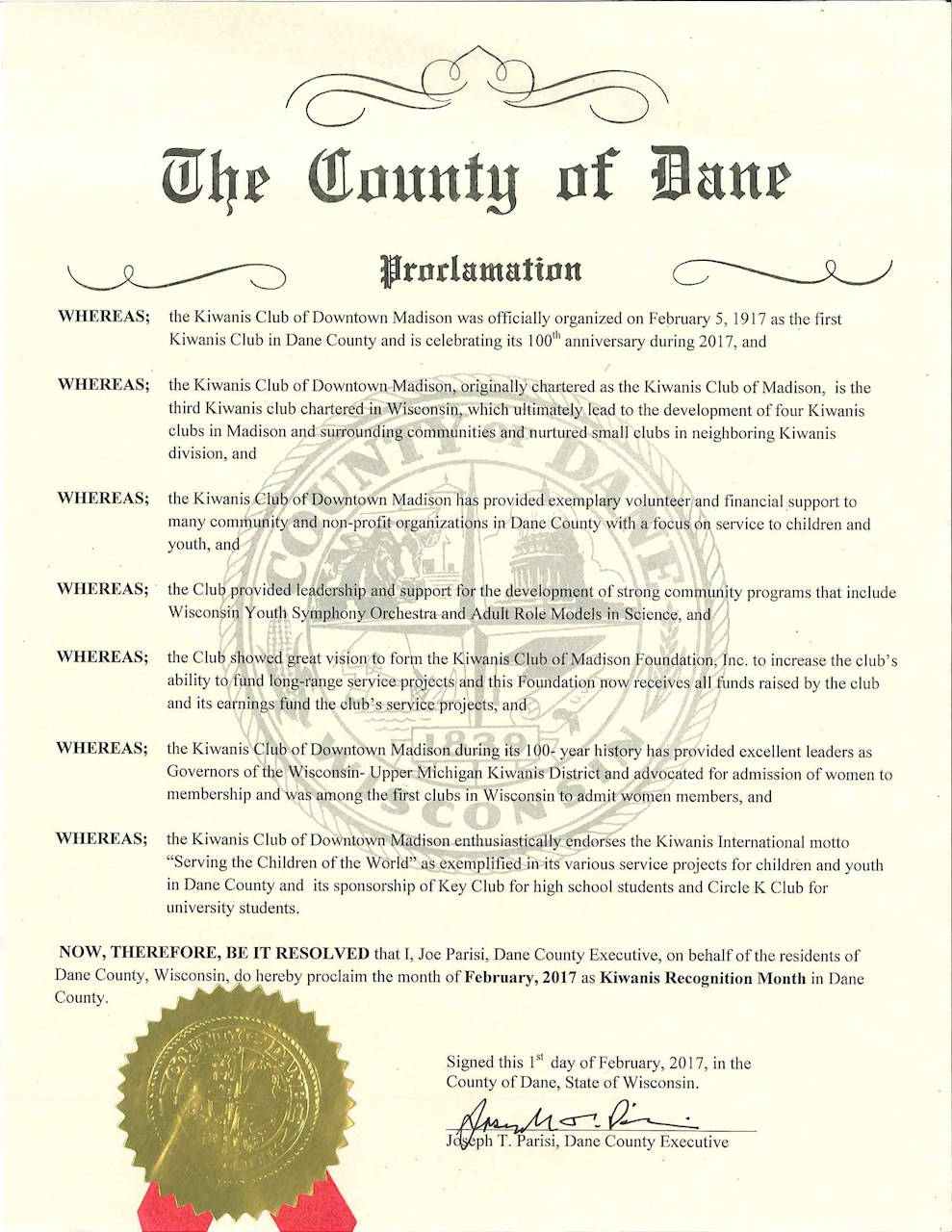 County Executive's Proclamation